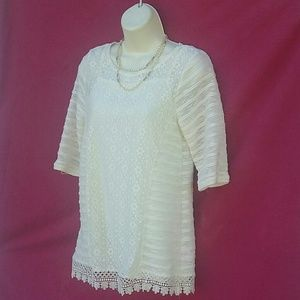 Top Blouse Pullover Woman XL 14-16 Lace NWOT